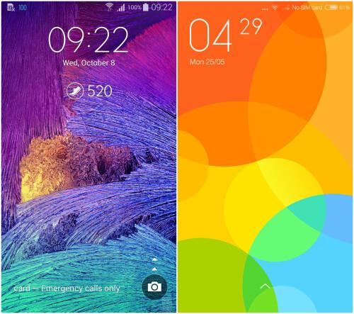 TouchWiz (left) vs MIUI 6 (right)