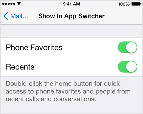 How to prevent Recent and Phone Favorite contacts from showing in your iOS task switcher