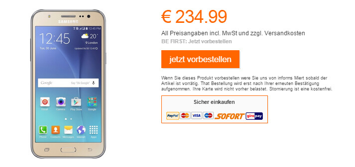 Samsung Galaxy J5 is now available in Germany from Orange - Samsung Galaxy J5 hits Germany with 5-inch HD screen, front-facing flash and Android 5.0