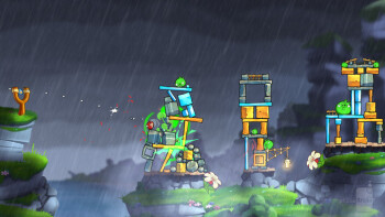 Angry Birds 2 features bigger, multi-screen stages, pretty graphics, and better character animations