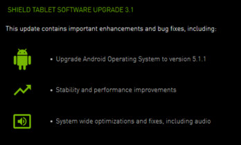 NVIDIA alerts the world on its website about the Android 5.1.1 update for the NVIDIA Shield