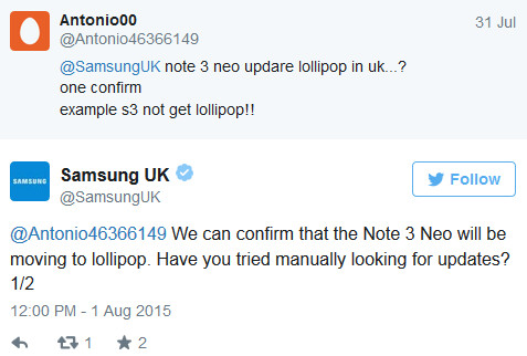 Samsung Galaxy Note 3 Neo will get updated to Android 5.0 according to Samsung U.K. - Samsung Galaxy Note 3 Neo to get Lollipopped according to Samsung U.K.