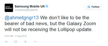 No Lollipop for the Samsung Galaxy K zoom says Samsung Mobile U.K.