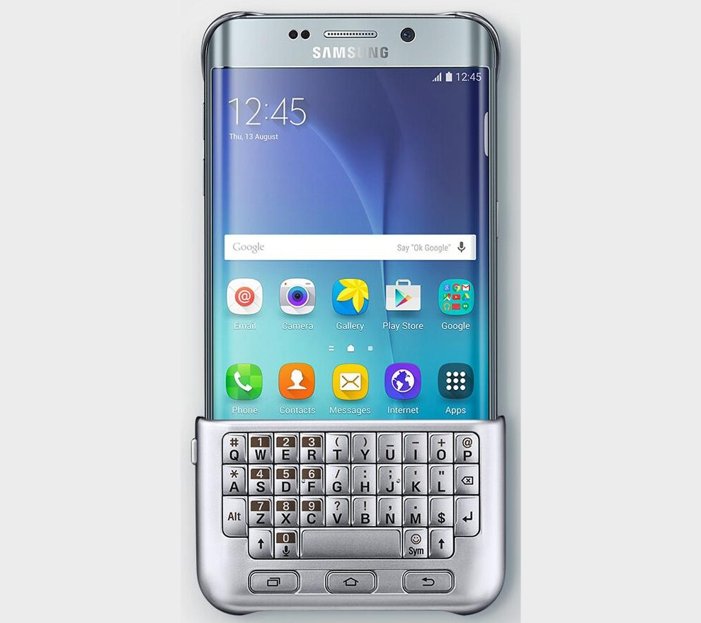 The Samsung Galaxy S6 Edge Plus with the QWERTY keyboard case...