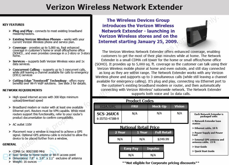 Verizon Wireless expected to offer Network Extender femtocell on January 25th