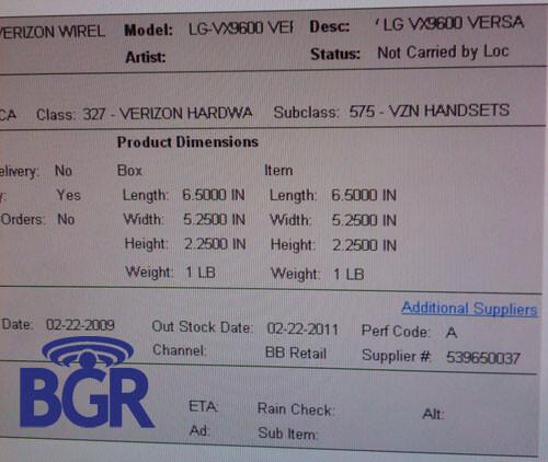 Verizon Wireless VX9600 coming in February?