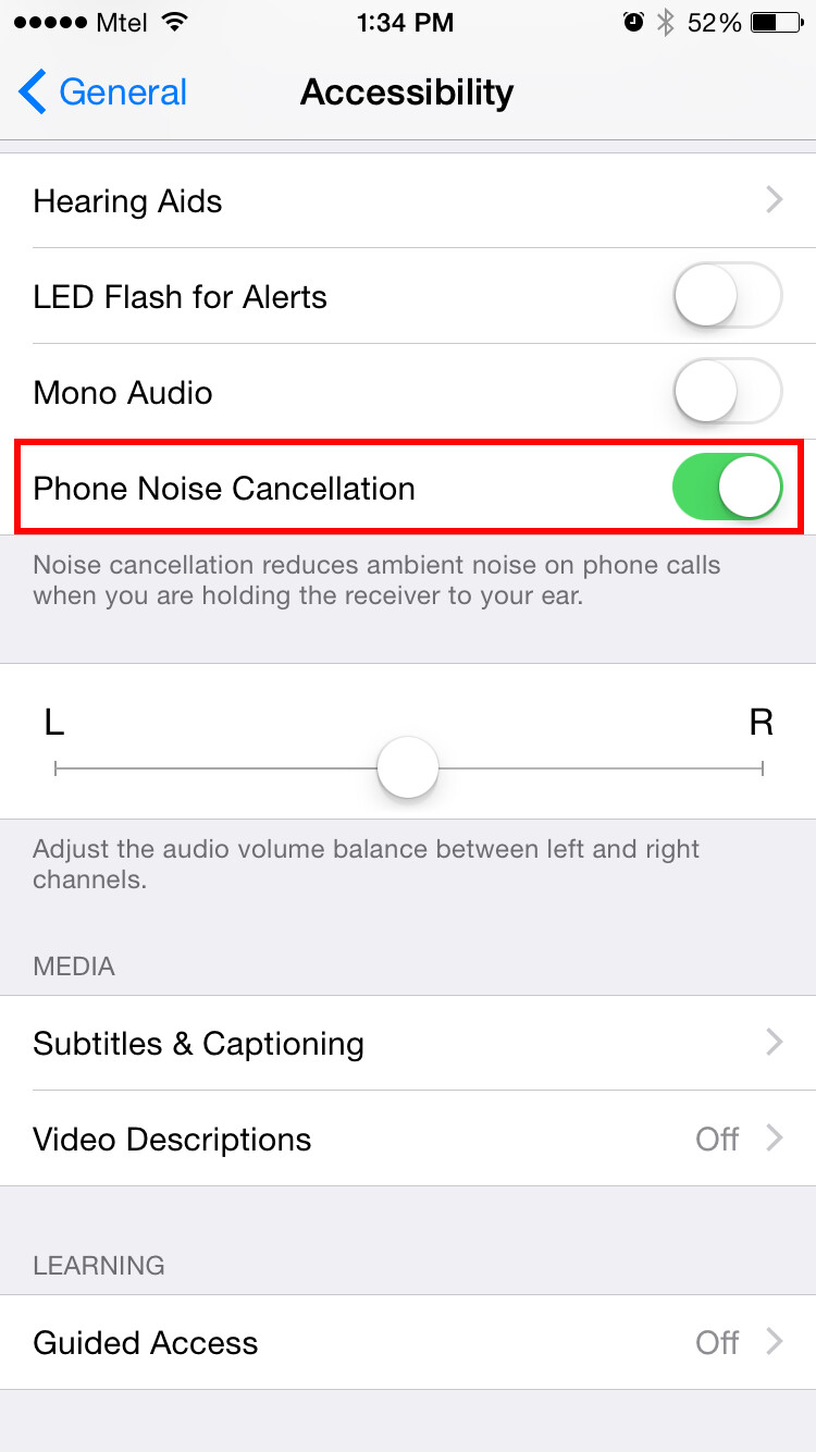 how to turn on and off noise cancellation on iphone ios 8 tutorial. Black Bedroom Furniture Sets. Home Design Ideas