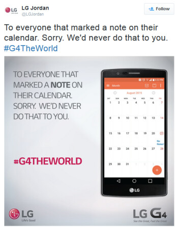 LG Jordan makes fun of Samsung for not offering the Galaxy Note5 in Europe
