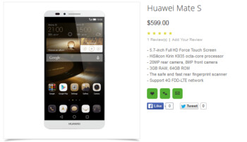 Huawei Mate S appears on Oppomart