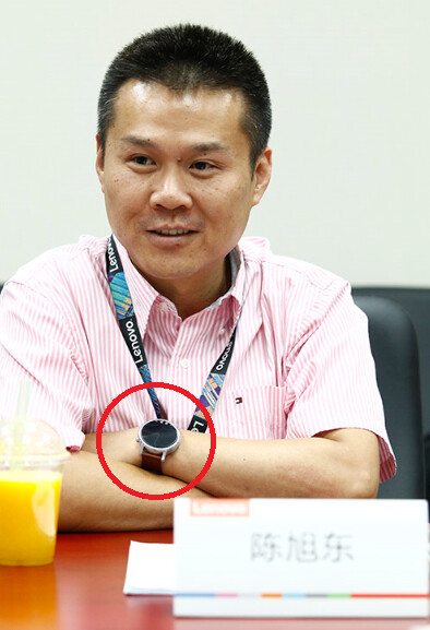 Lenovo SVP Chen Xudong wearing the Moto 360 2