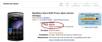 Buy a BlackBerry Storm on Amazon for $100 and get change back