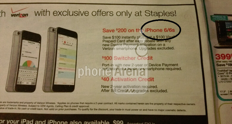 Staples ad mentions the iPhone 6s - Staples ad confirms Apple iPhone 6s name...or does it?