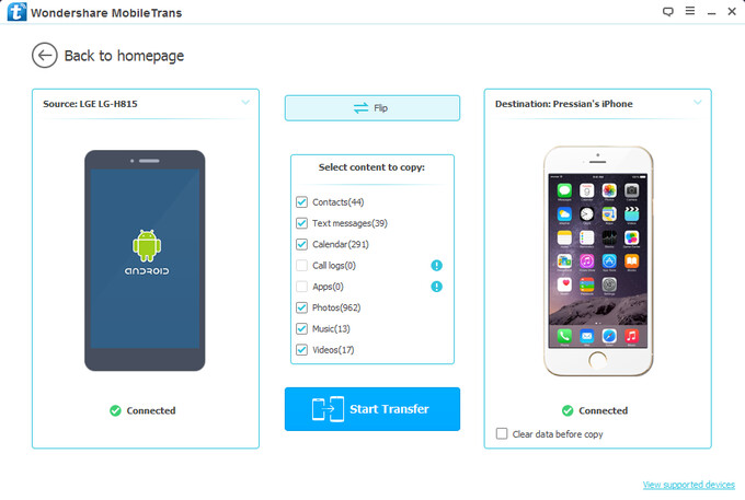 We're now ready to move some data - Wondershare MobileTrans review: move files between smartphones with ease