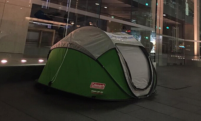 iPhone 6s mania: one eager Apple fan has already set up tent in front of the Apple Store in Sydney