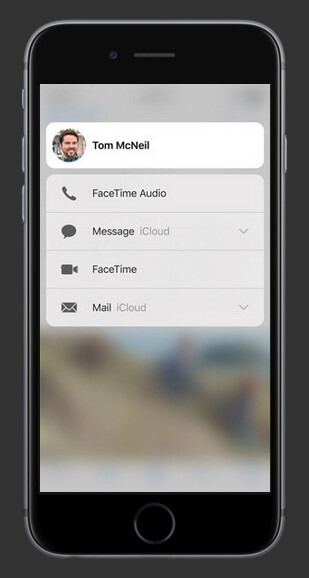 Contacts in any app to quickly reach them via a call or a text