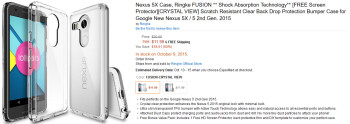 Case for the Nexus 5X listed on Amazon