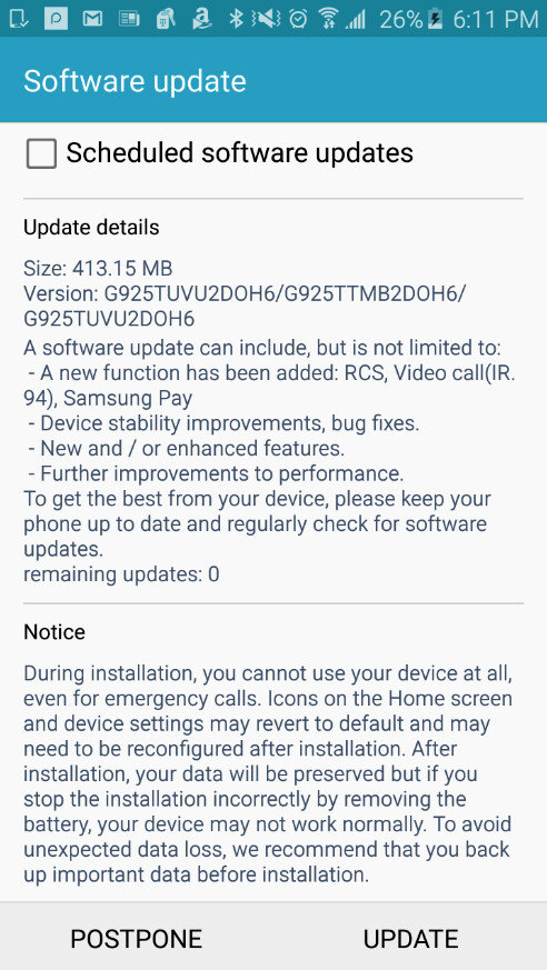 T-Mobile pushes out update for the Samsung Galaxy S6 and Samsung Galaxy S6 edge - Software update brings video calling, Samsung Pay and more to T-Mobile's Samsung Galaxy S6 and Galaxy S6 edge