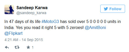 Flipkart's director tweets about sales of the third-generation Motorola Moto G - Motorola Moto X Play launched in India; 500,000 third-gen Moto G's are sold in the country