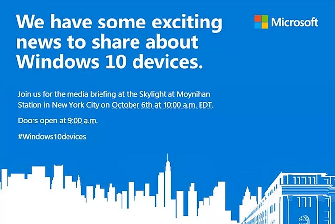 Microsoft schedules October 6th media event, expect to see the Lumia 950, 950 XL, and Surface Pro 4