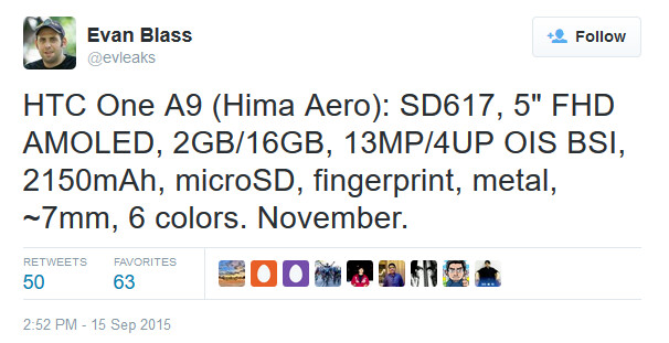 Tweet from Evan Blass reveals that the HTC One A9 is not a high-end model - HTC One A9 appears to be a mid-range model