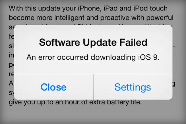 Early failures reported on iOS 9 downloads