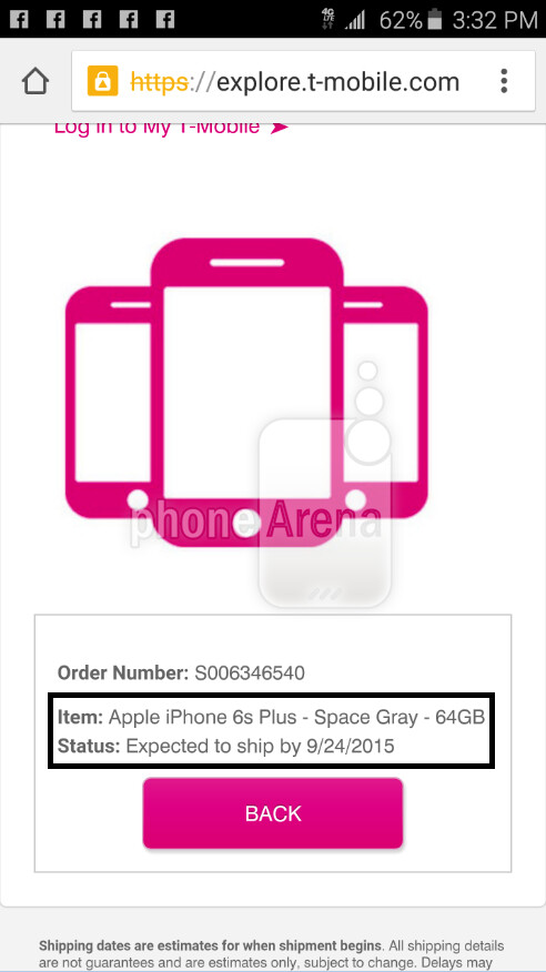 Some of those who pre-ordered the iPhone 6s or iPhone 6s Plus have received notification that the new models will ship this week - Apple iPhone 6s and Apple iPhone 6s Plus shipping notifications sent out