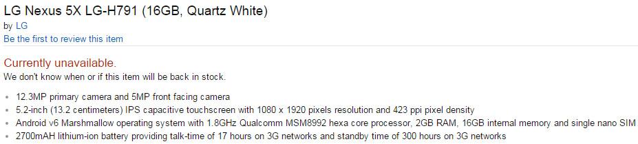 LG Nexus 5X specs appear on Amazon, list a 12 3 MP camera