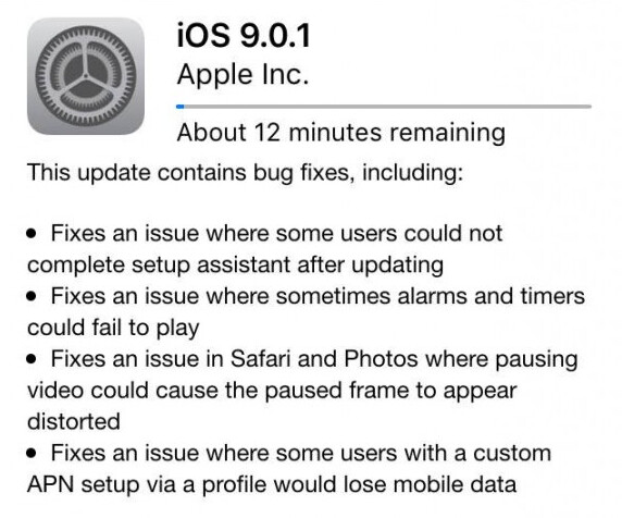 Apple starts sending out iOS 9.0.1 to exterminate bugs - Apple pushes out iOS 9.0.1 to kill bugs dead
