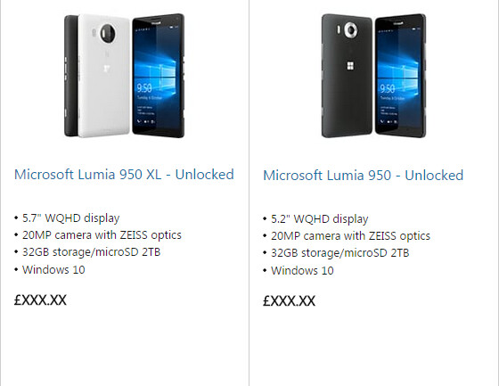 Microsoft mistakenly posts up the Lumia 950 and 950 XL to official Web store