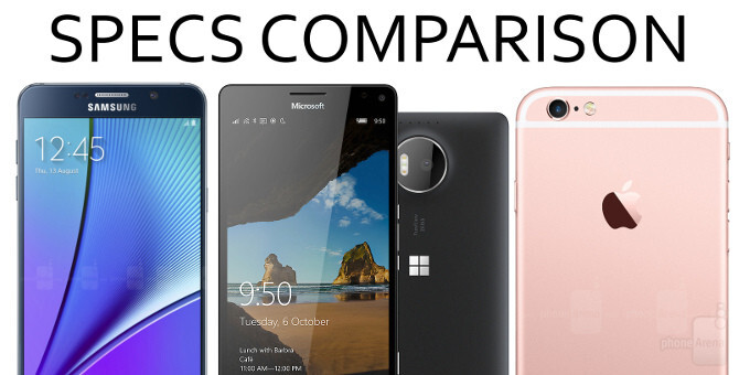 Microsoft 950 XL vs Apple iPhone 6s Plus vs Samsung Galaxy Note5: specs comparison