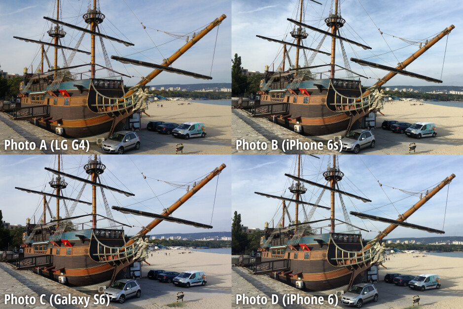 Side-by-side preview. Click to zoom in - Samsung Galaxy S6 and iPhone 6s dominate our blind camera comparison, LG G4 and iPhone 6 – not as much