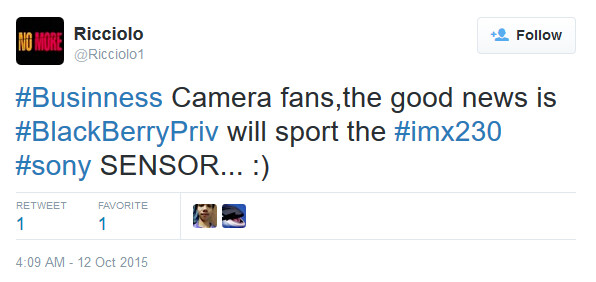 The BlackBerry Priv is rumored to employ the Sony IMX230 sensor for its rear camera - BlackBerry Priv's rear camera to sport Sony's IMX230 21MP sensor?