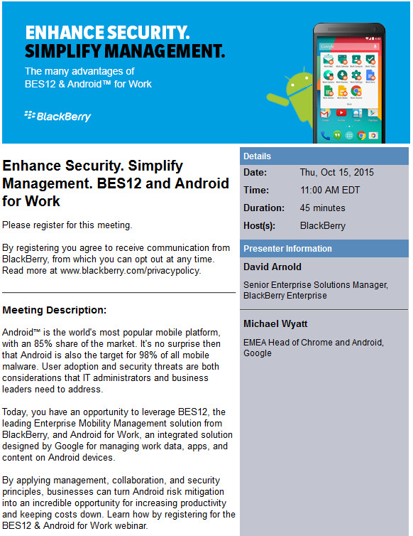 BlackBerry and Google team up to hold a webinar - BFFs Google and BlackBerry to host webinar for BES12 and Android for Work