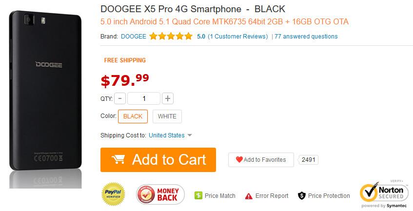 Doogee X5 Pro gets CPU, RAM, ROM and connectivity bump - PhoneArena