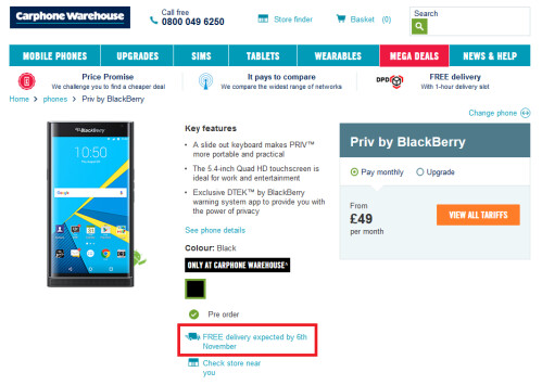 BlackBerry Priv up for pre-orders from Carphone Warehouse