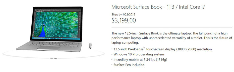 Waiting to order the 1TB model of Microsoft's Surface Book? Bring lots of money