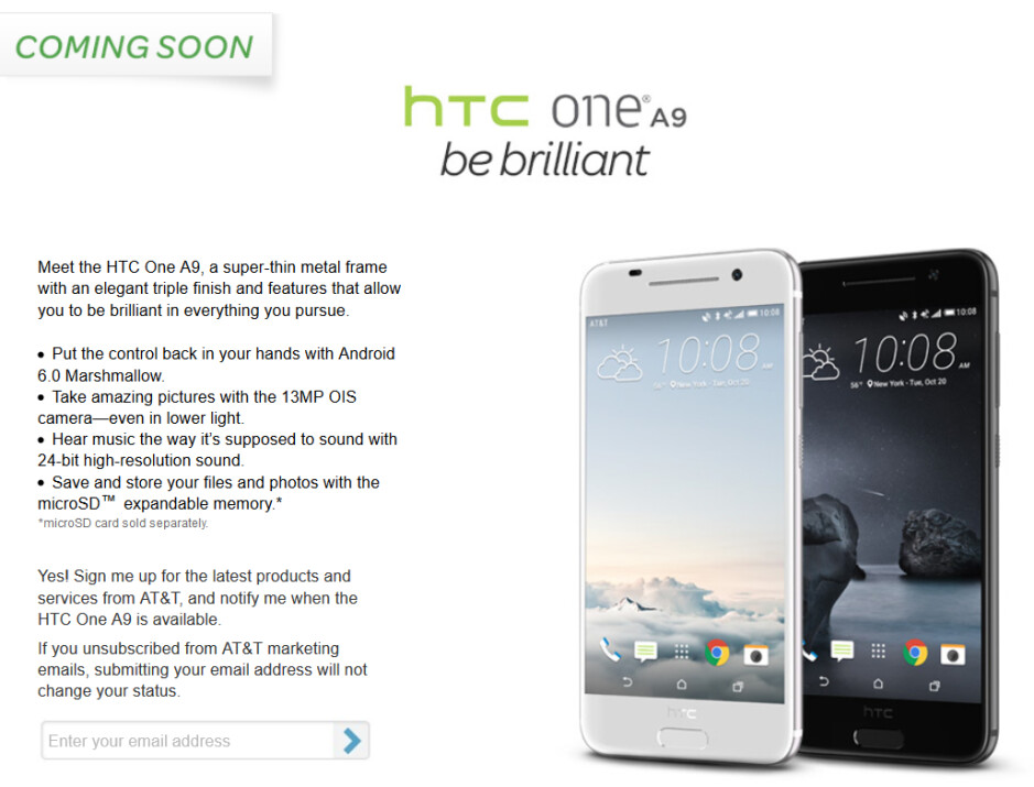 Pre-register for the HTC One A9 at AT&T - AT&T says it too will sell the HTC One A9