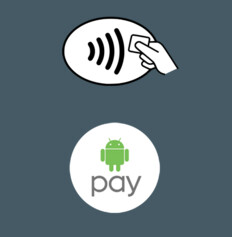 Contactless payments logo (top) Android Pay logo (bottom)