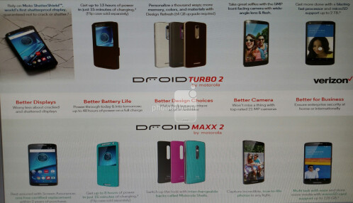 Verizon promotional material for the DROID Turbo 2 and DROID MAXX 2 leaks