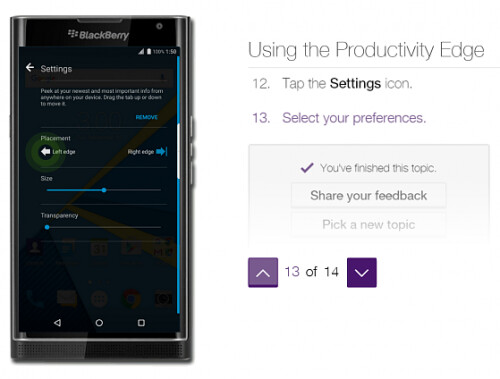 The BlackBerry Priv features a Productivity Edge (thanks to its