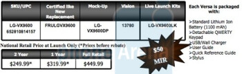 LG Versa spotted on Verizon site with pricing