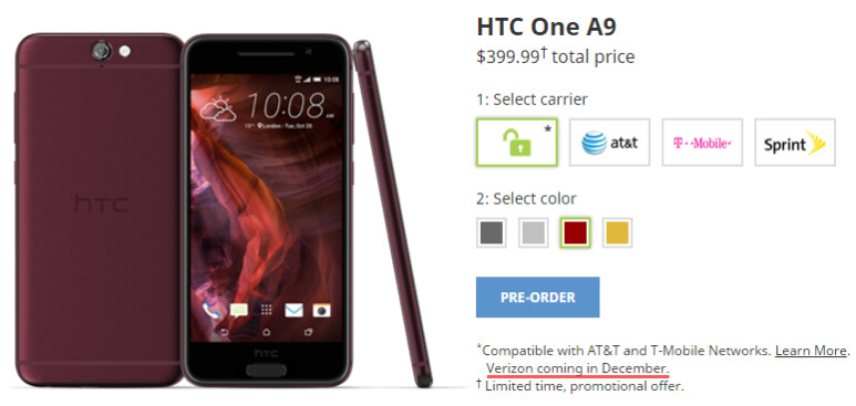 HTC One A9 will be available on Verizon in December