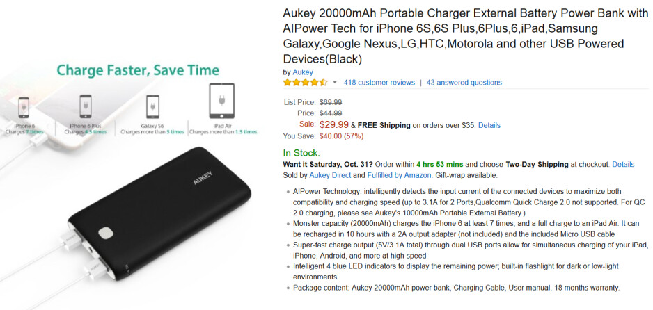 Aukey's 22,000mAh power bank is only $21.99 from Amazon with a coupon code - Aukey's 20,000mAh power bank is just $21.99 from Amazon with this coupon code