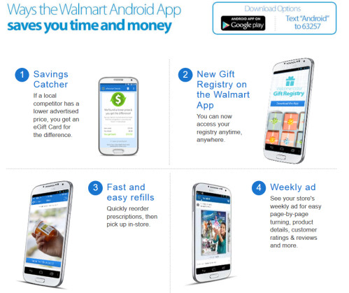 Features of Walmart's Android app