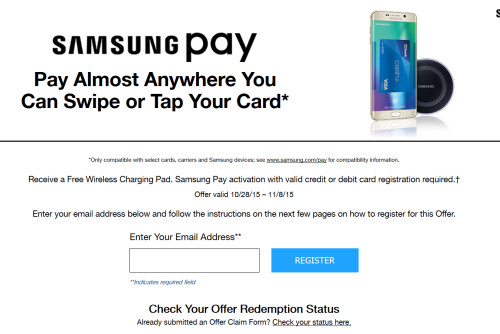Activate Samsung Pay and receive a free wireless charging pad...