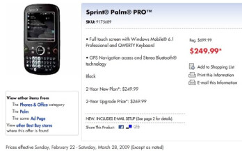 Palm Pro appears in Best Buy Mobile's March sales circular