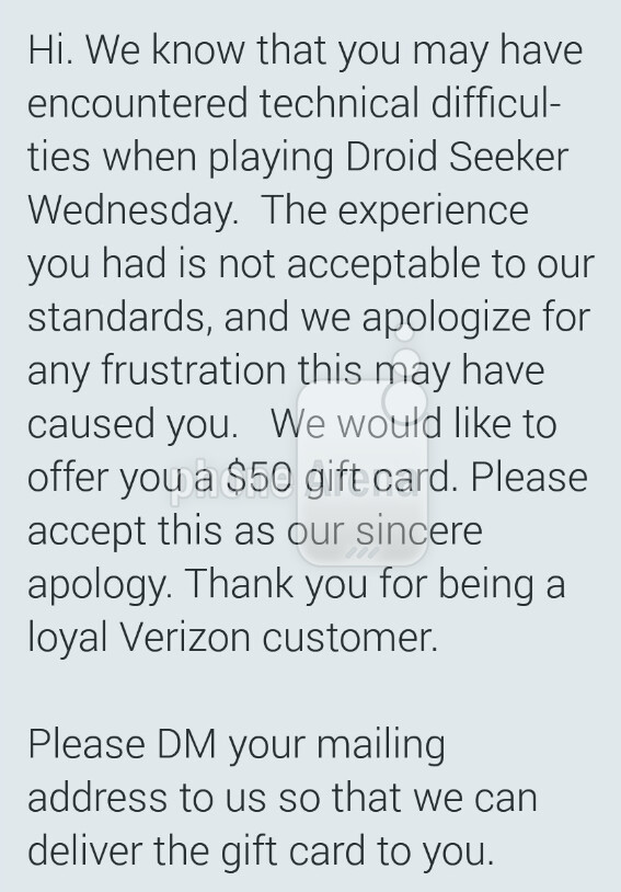 Verizon offers $50 gift card to those who had problems playing DROID Seeker - Verizon gives $50 gift cards to those who had network problems trying to win DROID Seeker