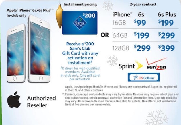 Sam's Club will sell you an Apple iPhone 6s for as low as $99 with a two-year contract, on November 14th - Leaked ad shows Sam's Club selling the Apple iPhone 6s for as low as $99 during November 14th sale