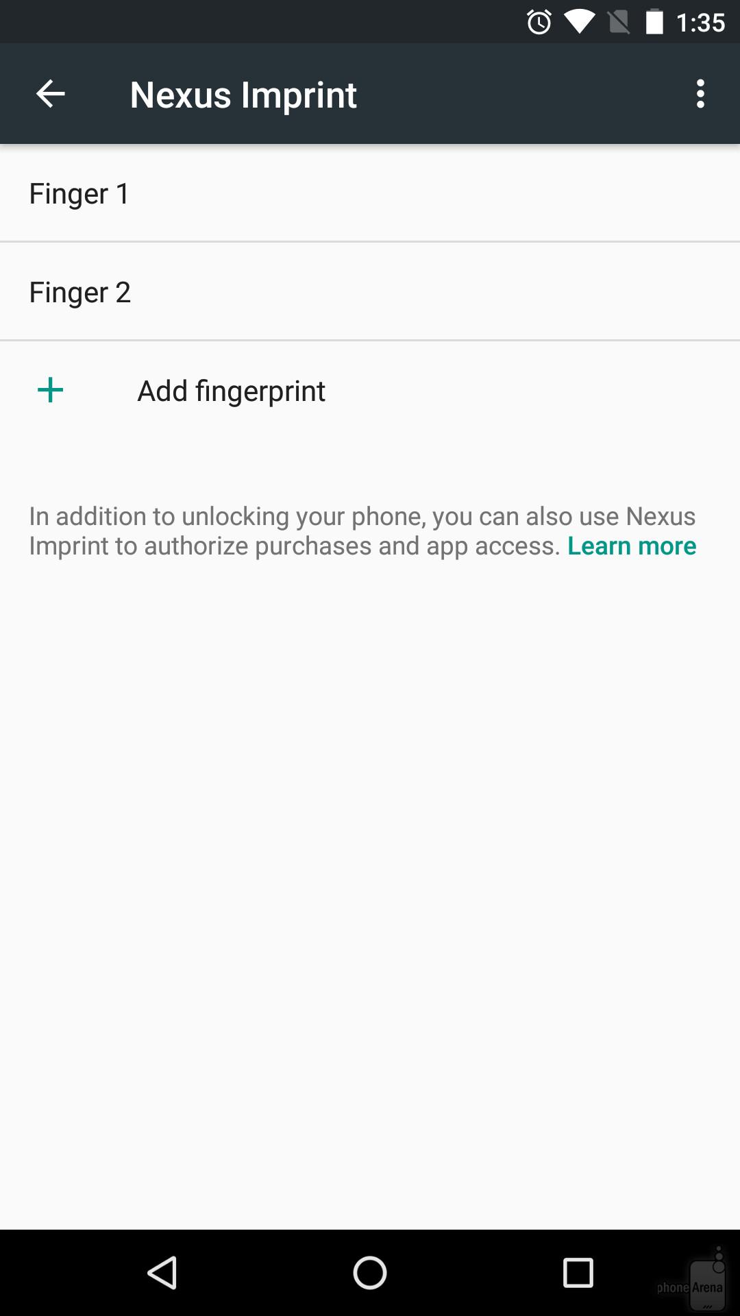 È possibile aggiungere le impronte digitali in qualsiasi momento, da Impostazioni - & gt; Sicurezza - & gt; Colophon Nexus.