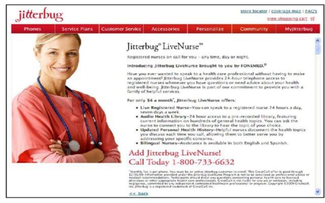 Jitterbug offers LiveNurse service